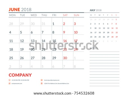 june 2018 calendar planner design template week starts on monday stationery design