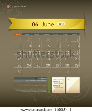 June 2013 calendar ribbon design, vector illustration