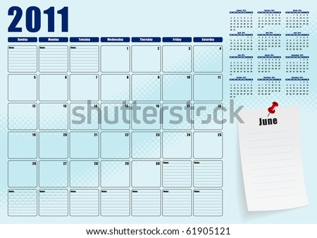 June desk planner for 2011