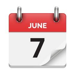 June 7 flat daily realistic calendar icon date vector image