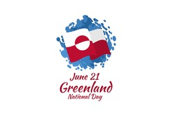 June 21, National Day of Greenland.  vector illustration. Suitable for greeting card, poster and banner