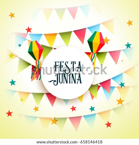 june party festa junina celebration greeting background #658146418