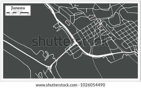 Juneau USA City Map in Retro Style. Outline Map. Vector Illustration.