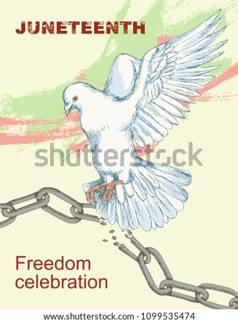 Juneteenth day. A broken chain and shackles. Dove, bird, symbol of peace and happiness, liberty. Hand sketch style drawing. The sleek silhouette on a white background. White bird on a light background