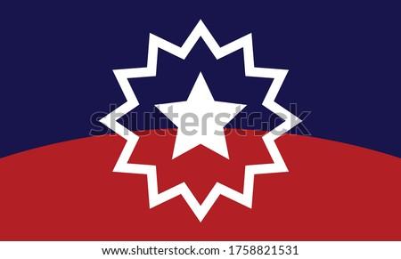 Juneteenth Flag. Since 1865. Design of Banner. Vector logo Illustration.