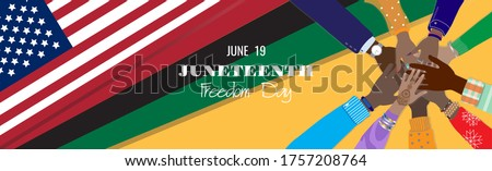 Juneteenth, June 19, 1865 - Freedom Day in the United States of America. Dark-skinned hands together at American, Pan-African flags background. Remember our ancestors, slavery abolition. Vector banner