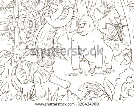 jungle animals cartoon coloring