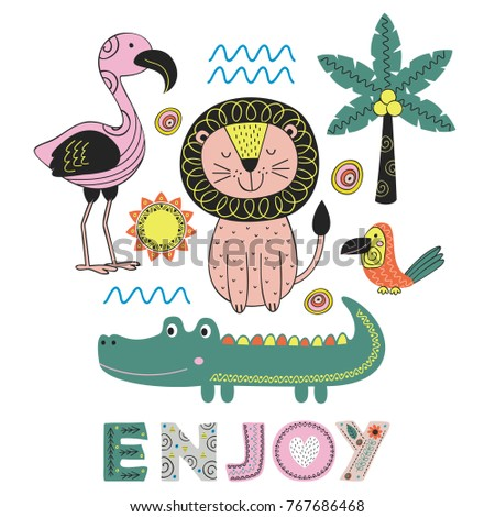 jungle animals in Scandinavian style. Poster,childish print, card - vector illustration, eps