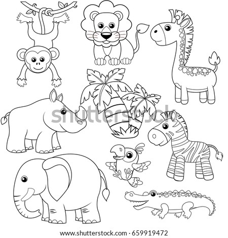 Jungle animals. Lion, elephant, giraffe, monkey, parrot, crocodile, zebra and rhinoceros. Black and white vector illustration for coloring book