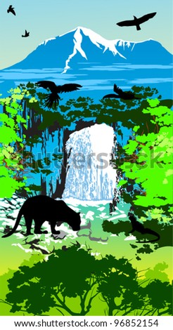jungle animals on the waterfall