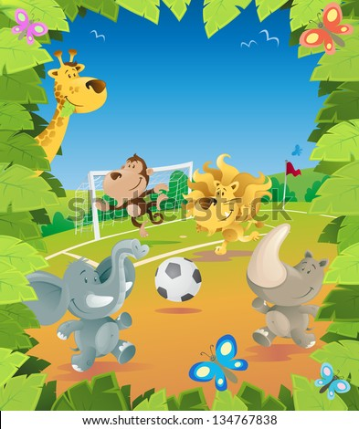 Jungle Animals Soccer Border