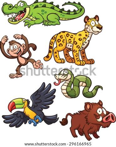 jungle animals vector clip art