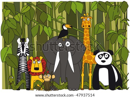 animals; zebra, snake, lion, monkey, elephant, giraffe, toucan ...