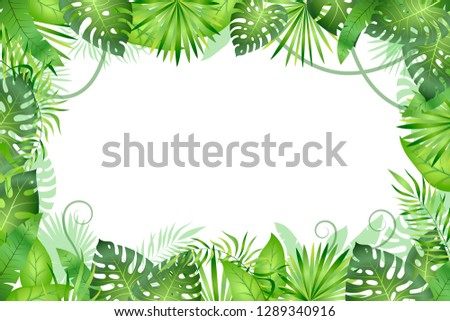 Jungle background. Tropical leaves frame. Rainforest foliage plants, green grass trees. Paradise african wildlife jungle vector frame #1289340916