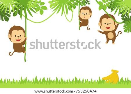 Jungle background with monkey