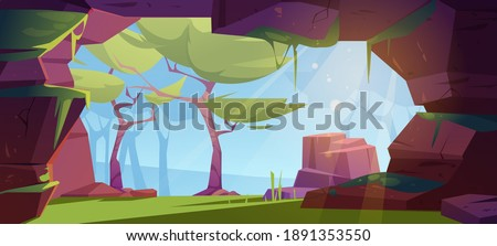 Jungle cave entrance, hole in rock with green trees, grass, moss and blue sky view. Grotto, hidden underground tunnel or cavern, summer nature landscape, hollow background Cartoon vector illustration