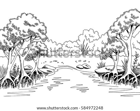 jungle forest river graphic