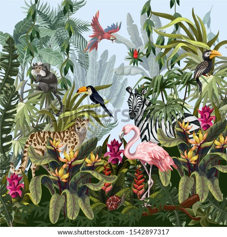 Jungle landscape with wild animals. Vector. stock photo