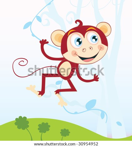 Cute Funny Monkey Banana Background Vector Illustration