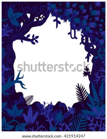 Jungle plants and vegetation vector frame, flyer mock-up template wild nature flat design illustration