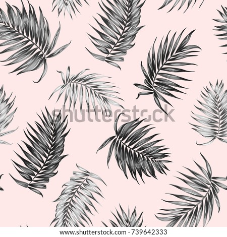 Jungle rainforest royal palm tree leaves isolated on pink background. Exotic tropical camouflage seamless pattern texture. Feather shaped branch. Vector design illustration.