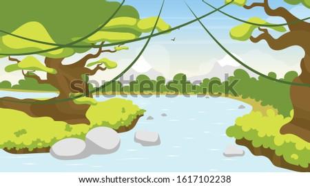 jungle river flat vector