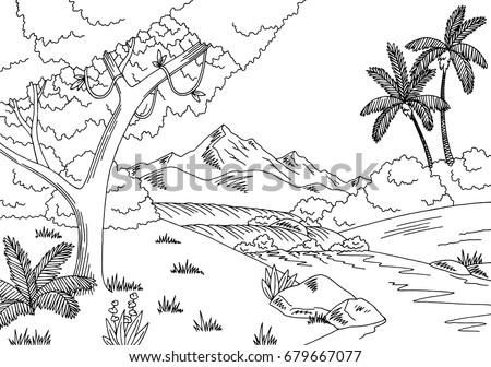 jungle river graphic black
