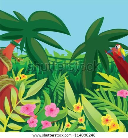 Cartoon Jungle Scene Jungle scene - stock vector