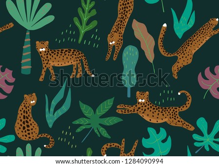 Jungle seamless pattern. Animal print with leopard. Vector background
