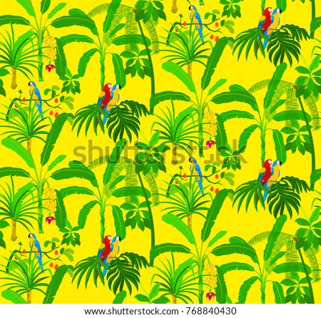 jungle seamless pattern with parrots birds and palm trees on yellow