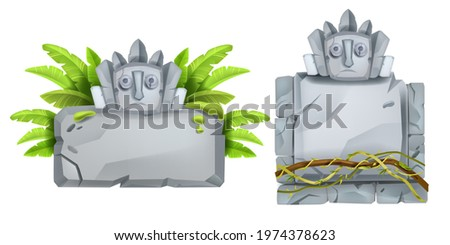 Jungle stone sign board, vector cartoon rock Aztec tablet, maya totem face, banana leaves, vine, liana. Nature tropical ancient boulders, game ruin monument isolated on white. UI sign board design