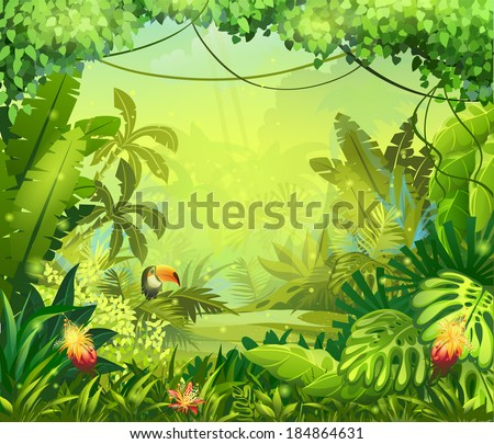 jungle toucan and flower for