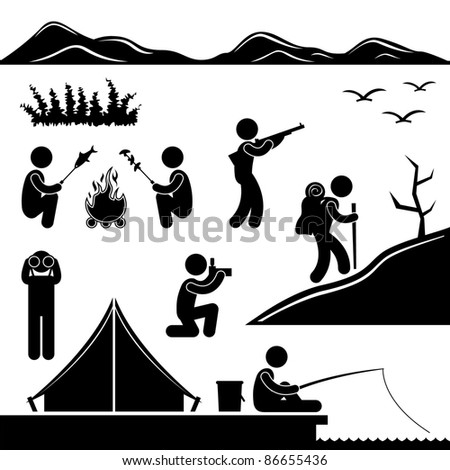 Jungle Trekking Hiking Camping Fishing Campfire Adventure People Icon Sign Symbol Pictogram