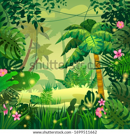Jungle tropical forest palms different exotic plants leaves, flowers, lianas, flora, rainforest landscape background. For design game, apps, banners, prints. Vector illustration isolated