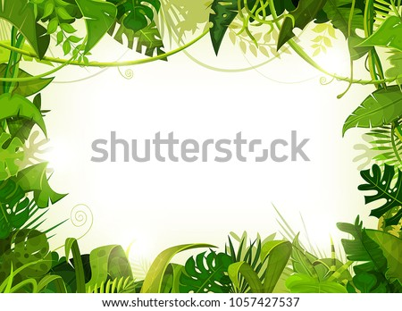 Jungle Tropical Landscape Background/ Illustration of a jungle landscape background, with ornaments made with leaves and foliage of tropical plants and trees