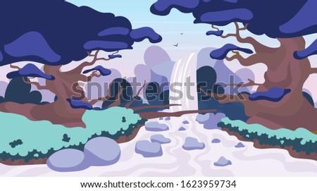 jungle waterfall flat vector