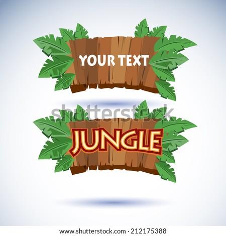 jungle wood sign vector