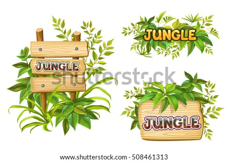 jungle wood sign with leaves