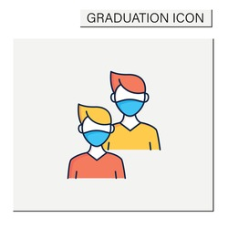 Junior color icon. Younger student. Freshman, first-year student. Protection from other people. Training. Professional development. Graduation concept.Isolated vector illustration