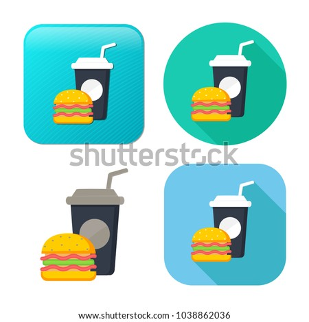 junk food icon - fast food icon - burger sandwich with soda drink