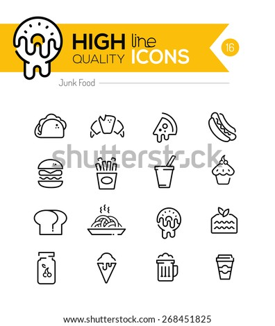 junk food line icons including
