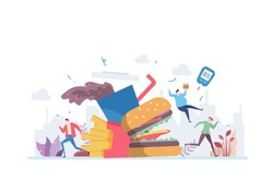 Junkfood Addiction Vector Illustration Concept Showing a hamburger monster chasing people, Suitable for landing page, ui, web, App intro card, editorial, flyer, and banner.