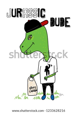 jurassic dude,t-shirt design