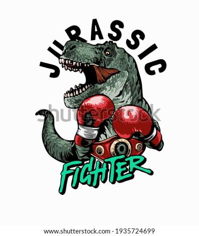 Jurassic fighter slogan with cartoon dinosaur in boxing gloves illustration