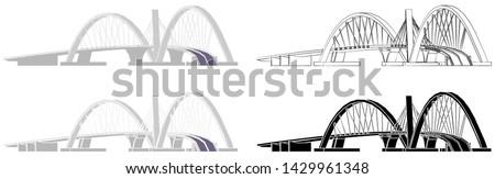 Juscelino Kubitschek Bridge skyline colored and outline only