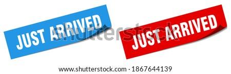 just arrived paper peeler sign set. just arrived sticker Stok fotoğraf ©