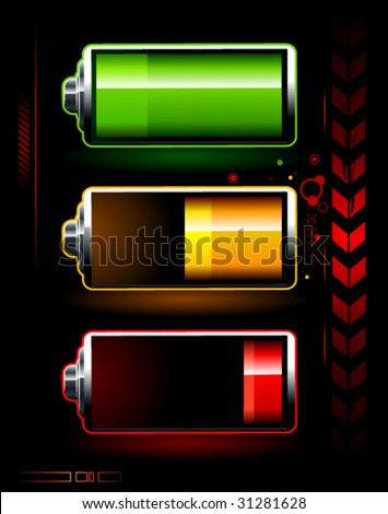 Just batteries on dark high technology background