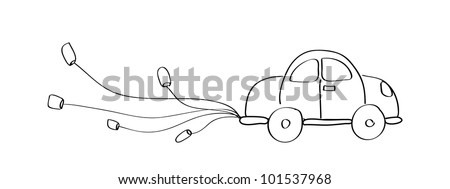 Just married car cartoon doodle hand drawing - Vector