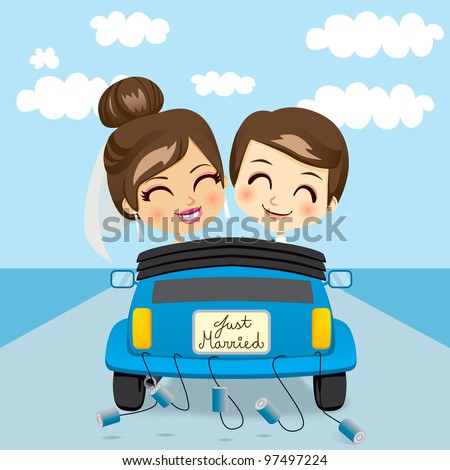Just married couple driving a blue car in honeymoon trip
