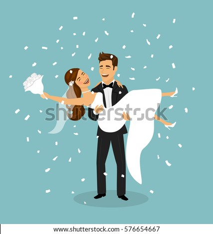 Just married couple, groom carries bride in arms after wedding ceremony Stock photo ©